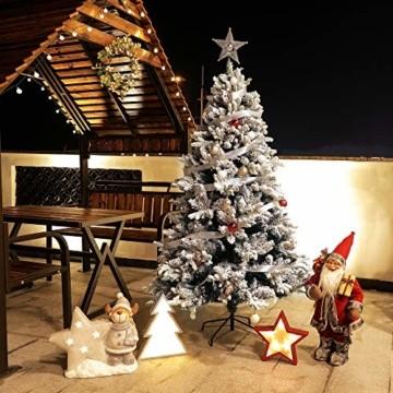 TOLEAD 180cm beflockter künstlicher Weihnachtsbaum mit Schnee, Tannenbaum mit faltbarem Metallständer, 1080 Spitzen, für Feiertagsdekoration, einfache Montage - 7