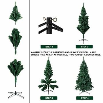 TopVita Künstlicher Weihnachtsbaum hochwertiger Tannenbaum Christbaum, mit Metallständer Material PVC, 150 cm Grün, Innen und Außenbereich - 3