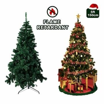 TopVita Künstlicher Weihnachtsbaum hochwertiger Tannenbaum Christbaum, mit Metallständer Material PVC, 150 cm Grün, Innen und Außenbereich - 5