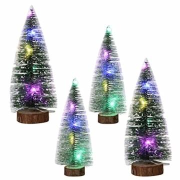 TOYANDONA 4 Stücke Künstlicher Weihnachtsbaum mit Schnee Mini Tannenbaum LED Christbaum Weihnachtsschmuck Tischdeko Weihnachtsdeko Baum - 2