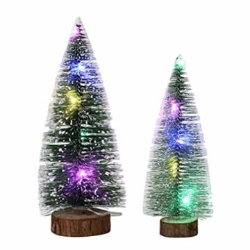 TOYANDONA 4 Stücke Künstlicher Weihnachtsbaum mit Schnee Mini Tannenbaum LED Christbaum Weihnachtsschmuck Tischdeko Weihnachtsdeko Baum - 3