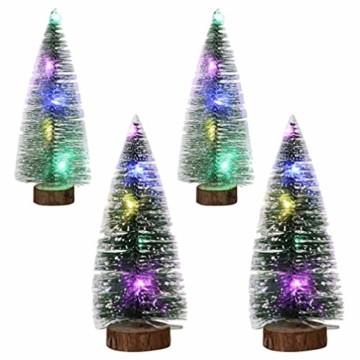TOYANDONA 4 Stücke Künstlicher Weihnachtsbaum mit Schnee Mini Tannenbaum LED Christbaum Weihnachtsschmuck Tischdeko Weihnachtsdeko Baum - 1