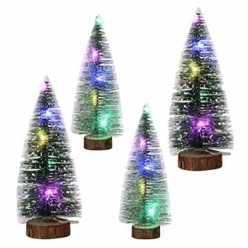 TOYANDONA 4 Stücke Künstlicher Weihnachtsbaum mit Schnee Mini Tannenbaum LED Christbaum Weihnachtsschmuck Tischdeko Weihnachtsdeko Baum - 5