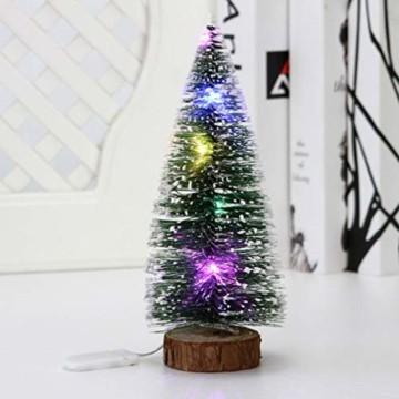 TOYANDONA 4 Stücke Künstlicher Weihnachtsbaum mit Schnee Mini Tannenbaum LED Christbaum Weihnachtsschmuck Tischdeko Weihnachtsdeko Baum - 6
