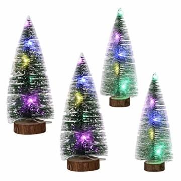 TOYANDONA 4 Stücke Künstlicher Weihnachtsbaum mit Schnee Mini Tannenbaum LED Christbaum Weihnachtsschmuck Tischdeko Weihnachtsdeko Baum - 7