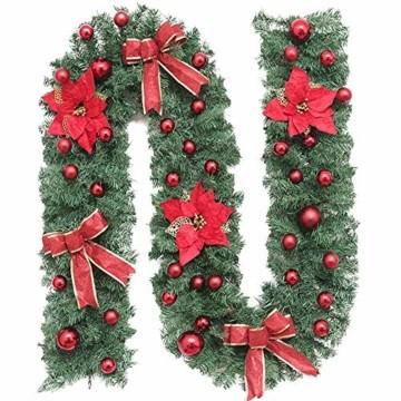 Treer Weihnachtsgirlande mit Beleuchtung, Tannengirlande Batterie Remote 8 Modus Lichterkette Weihnachten Dekoration für Innen und Außen Verwendbar (Warmweiß,rot) - 3