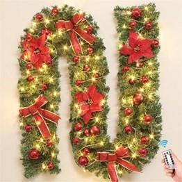 Treer Weihnachtsgirlande mit Beleuchtung, Tannengirlande Batterie Remote 8 Modus Lichterkette Weihnachten Dekoration für Innen und Außen Verwendbar (Warmweiß,rot) - 1