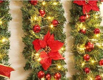 Treer Weihnachtsgirlande mit Beleuchtung, Tannengirlande Batterie Remote 8 Modus Lichterkette Weihnachten Dekoration für Innen und Außen Verwendbar (Warmweiß,rot) - 4