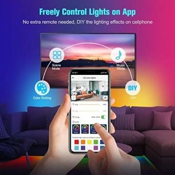 UALAU LED Strip Alexa, 10M LED Streifen Kompatibel mit Echo Google Assistant, RGB Led Lichterkette mit APP Steuerung Musik LED Band Lichterkette für Schlafzimmer, Party Deko und Feriendekoration - 2
