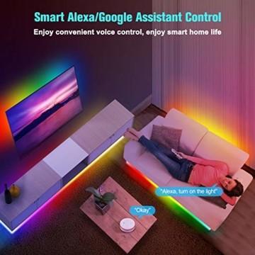 UALAU LED Strip Alexa, 10M LED Streifen Kompatibel mit Echo Google Assistant, RGB Led Lichterkette mit APP Steuerung Musik LED Band Lichterkette für Schlafzimmer, Party Deko und Feriendekoration - 3