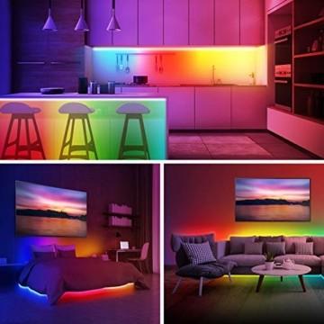 UALAU LED Strip Alexa, 10M LED Streifen Kompatibel mit Echo Google Assistant, RGB Led Lichterkette mit APP Steuerung Musik LED Band Lichterkette für Schlafzimmer, Party Deko und Feriendekoration - 4