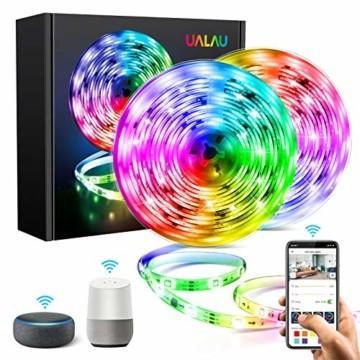 UALAU LED Strip Alexa, 10M LED Streifen Kompatibel mit Echo Google Assistant, RGB Led Lichterkette mit APP Steuerung Musik LED Band Lichterkette für Schlafzimmer, Party Deko und Feriendekoration - 1