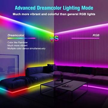 UALAU LED Strip Alexa, 10M LED Streifen Kompatibel mit Echo Google Assistant, RGB Led Lichterkette mit APP Steuerung Musik LED Band Lichterkette für Schlafzimmer, Party Deko und Feriendekoration - 5