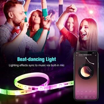 UALAU LED Strip Alexa, 10M LED Streifen Kompatibel mit Echo Google Assistant, RGB Led Lichterkette mit APP Steuerung Musik LED Band Lichterkette für Schlafzimmer, Party Deko und Feriendekoration - 7