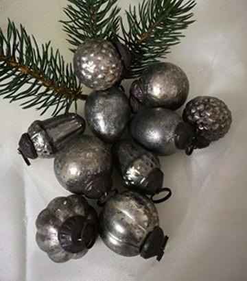 Unbekannt 10 er Set Weihnachtskugel Glas Gold BraunAntik Christbaumschmuck Shabby Vintage - 2