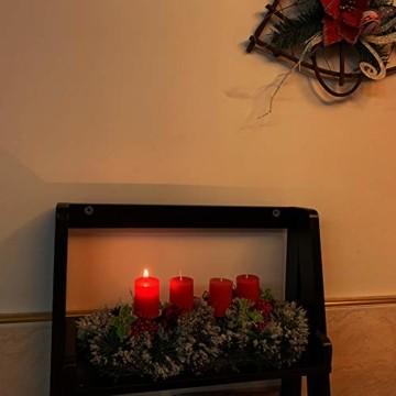 Unifree Adventskranz - Bereift Tanne Weihnachten Kerzenhalter Kerzenringe Kerzenständer Dekorativ Tannenzapfen Rote Beeren Bogen, Christmas Kerzenlicht Stehen für Advent Tischdeko Deko - 4