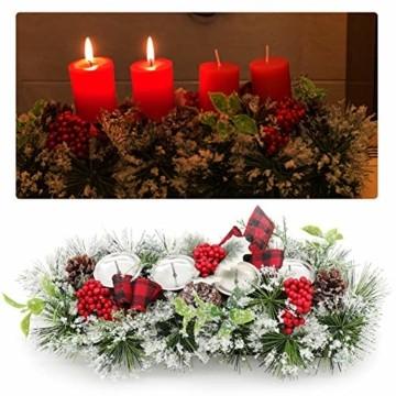 Unifree Adventskranz - Bereift Tanne Weihnachten Kerzenhalter Kerzenringe Kerzenständer Dekorativ Tannenzapfen Rote Beeren Bogen, Christmas Kerzenlicht Stehen für Advent Tischdeko Deko - 1