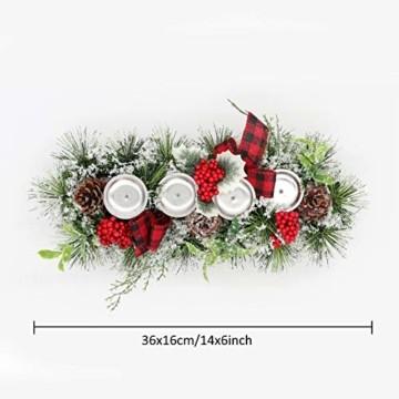 Unifree Adventskranz - Bereift Tanne Weihnachten Kerzenhalter Kerzenringe Kerzenständer Dekorativ Tannenzapfen Rote Beeren Bogen, Christmas Kerzenlicht Stehen für Advent Tischdeko Deko - 6