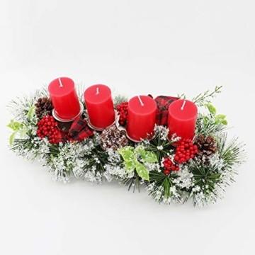Unifree Adventskranz - Bereift Tanne Weihnachten Kerzenhalter Kerzenringe Kerzenständer Dekorativ Tannenzapfen Rote Beeren Bogen, Christmas Kerzenlicht Stehen für Advent Tischdeko Deko - 8