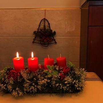 Unifree Adventskranz - Bereift Tanne Weihnachten Kerzenhalter Kerzenringe Kerzenständer Dekorativ Tannenzapfen Rote Beeren Bogen, Christmas Kerzenlicht Stehen für Advent Tischdeko Deko - 9