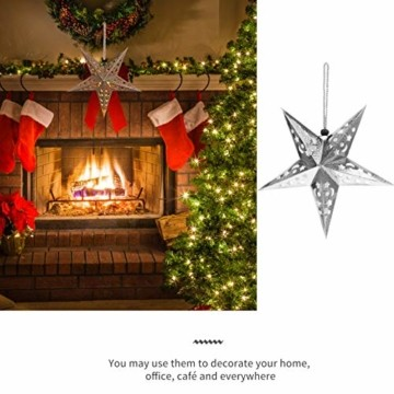 Uonlytech 30CM Papierstern Lampe Papier Weihnachtssterne mit Beleuchtung 3D Leuchtstern Fensterdeko Stern Weihnachten Beleuchtet Weihnachtsbeleuchtung für Weihnachtsbaum Deko - 3