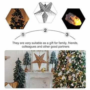 Uonlytech 30CM Papierstern Lampe Papier Weihnachtssterne mit Beleuchtung 3D Leuchtstern Fensterdeko Stern Weihnachten Beleuchtet Weihnachtsbeleuchtung für Weihnachtsbaum Deko - 4