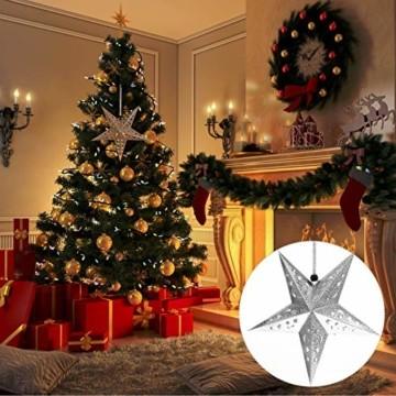 Uonlytech 30CM Papierstern Lampe Papier Weihnachtssterne mit Beleuchtung 3D Leuchtstern Fensterdeko Stern Weihnachten Beleuchtet Weihnachtsbeleuchtung für Weihnachtsbaum Deko - 6