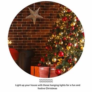 Uonlytech 30CM Papierstern Lampe Papier Weihnachtssterne mit Beleuchtung 3D Leuchtstern Fensterdeko Stern Weihnachten Beleuchtet Weihnachtsbeleuchtung für Weihnachtsbaum Deko - 7