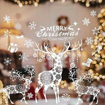 Valeny Weihnachten Fensterbilder Weihnachtsbaum Aufkleber Fensteraufkleber Xmas Wandaufkleber Elk Weihnachtssticker für Schaufenster und Haus Dekoration - 2