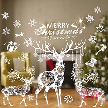 Valeny Weihnachten Fensterbilder Weihnachtsbaum Aufkleber Fensteraufkleber Xmas Wandaufkleber Elk Weihnachtssticker für Schaufenster und Haus Dekoration - 3