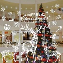 Valeny Weihnachten Fensterbilder Weihnachtsbaum Aufkleber Fensteraufkleber Xmas Wandaufkleber Elk Weihnachtssticker für Schaufenster und Haus Dekoration - 1