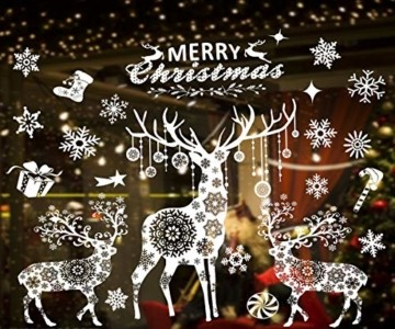Valeny Weihnachten Fensterbilder Weihnachtsbaum Aufkleber Fensteraufkleber Xmas Wandaufkleber Elk Weihnachtssticker für Schaufenster und Haus Dekoration - 5
