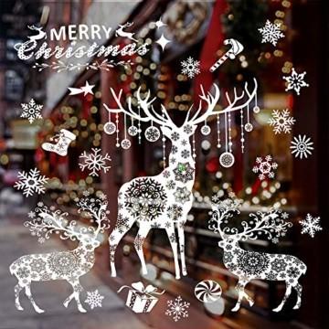 Valeny Weihnachten Fensterbilder Weihnachtsbaum Aufkleber Fensteraufkleber Xmas Wandaufkleber Elk Weihnachtssticker für Schaufenster und Haus Dekoration - 6
