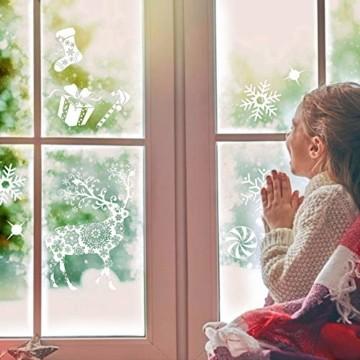 Valeny Weihnachten Fensterbilder Weihnachtsbaum Aufkleber Fensteraufkleber Xmas Wandaufkleber Elk Weihnachtssticker für Schaufenster und Haus Dekoration - 7