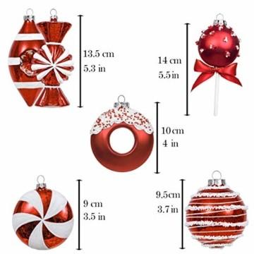 Valery Madelyn 10 Stücke Glas Weihnachtskugeln Set 9-14cm Rot Weiß Glas Christbaumkugeln mit Aufhänger Weihnachtsbaumschmuck Weihnachtsdeko Süßigkeiten Thema - 2