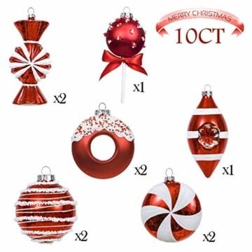 Valery Madelyn 10 Stücke Glas Weihnachtskugeln Set 9-14cm Rot Weiß Glas Christbaumkugeln mit Aufhänger Weihnachtsbaumschmuck Weihnachtsdeko Süßigkeiten Thema - 3