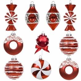 Valery Madelyn 10 Stücke Glas Weihnachtskugeln Set 9-14cm Rot Weiß Glas Christbaumkugeln mit Aufhänger Weihnachtsbaumschmuck Weihnachtsdeko Süßigkeiten Thema - 1