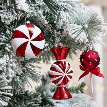 Valery Madelyn 10 Stücke Glas Weihnachtskugeln Set 9-14cm Rot Weiß Glas Christbaumkugeln mit Aufhänger Weihnachtsbaumschmuck Weihnachtsdeko Süßigkeiten Thema - 4