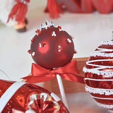 Valery Madelyn 10 Stücke Glas Weihnachtskugeln Set 9-14cm Rot Weiß Glas Christbaumkugeln mit Aufhänger Weihnachtsbaumschmuck Weihnachtsdeko Süßigkeiten Thema - 5