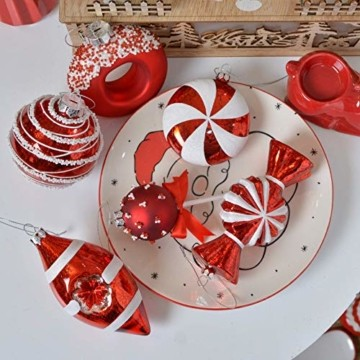 Valery Madelyn 10 Stücke Glas Weihnachtskugeln Set 9-14cm Rot Weiß Glas Christbaumkugeln mit Aufhänger Weihnachtsbaumschmuck Weihnachtsdeko Süßigkeiten Thema - 6