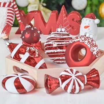 Valery Madelyn 10 Stücke Glas Weihnachtskugeln Set 9-14cm Rot Weiß Glas Christbaumkugeln mit Aufhänger Weihnachtsbaumschmuck Weihnachtsdeko Süßigkeiten Thema - 7