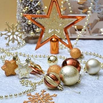 Valery Madelyn 52 TLG.Weihnachtskugeln Set Weihnachtsbaum Schmuck Dekoration, Kunststoff Christbaumschmuck für Weihnachtsdeko Anhänger Party Hausdeko Wald Thema Bronze Gold - 3