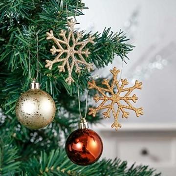Valery Madelyn 52 TLG.Weihnachtskugeln Set Weihnachtsbaum Schmuck Dekoration, Kunststoff Christbaumschmuck für Weihnachtsdeko Anhänger Party Hausdeko Wald Thema Bronze Gold - 4