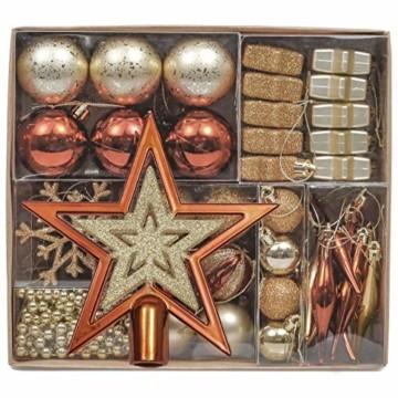 Valery Madelyn 52 TLG.Weihnachtskugeln Set Weihnachtsbaum Schmuck Dekoration, Kunststoff Christbaumschmuck für Weihnachtsdeko Anhänger Party Hausdeko Wald Thema Bronze Gold - 1