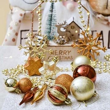 Valery Madelyn 52 TLG.Weihnachtskugeln Set Weihnachtsbaum Schmuck Dekoration, Kunststoff Christbaumschmuck für Weihnachtsdeko Anhänger Party Hausdeko Wald Thema Bronze Gold - 5