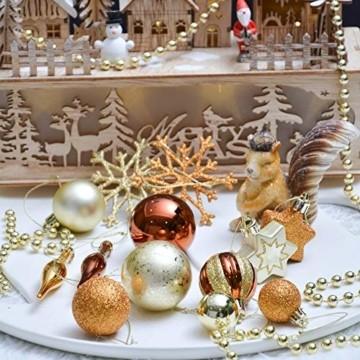 Valery Madelyn 52 TLG.Weihnachtskugeln Set Weihnachtsbaum Schmuck Dekoration, Kunststoff Christbaumschmuck für Weihnachtsdeko Anhänger Party Hausdeko Wald Thema Bronze Gold - 7