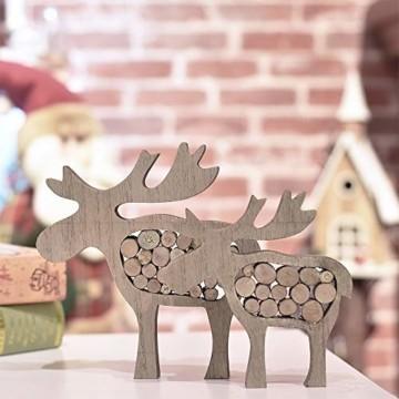 Valery Madelyn Holz Weihnachtsdekoration Rentier Weihnachtsdeko Figur 16/20cm 2er Set Hirsch Weihnachtsfigur mit Holzscheiben In den Wald Thema für Weihnachten MEHRWEG Verpackung - 2