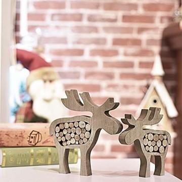 Valery Madelyn Holz Weihnachtsdekoration Rentier Weihnachtsdeko Figur 16/20cm 2er Set Hirsch Weihnachtsfigur mit Holzscheiben In den Wald Thema für Weihnachten MEHRWEG Verpackung - 3