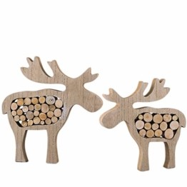 Valery Madelyn Holz Weihnachtsdekoration Rentier Weihnachtsdeko Figur 16/20cm 2er Set Hirsch Weihnachtsfigur mit Holzscheiben In den Wald Thema für Weihnachten MEHRWEG Verpackung - 1