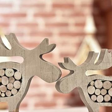 Valery Madelyn Holz Weihnachtsdekoration Rentier Weihnachtsdeko Figur 16/20cm 2er Set Hirsch Weihnachtsfigur mit Holzscheiben In den Wald Thema für Weihnachten MEHRWEG Verpackung - 5